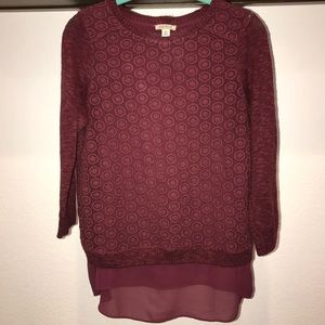 Lucky Brand Maroon Sweater- only worn once!!